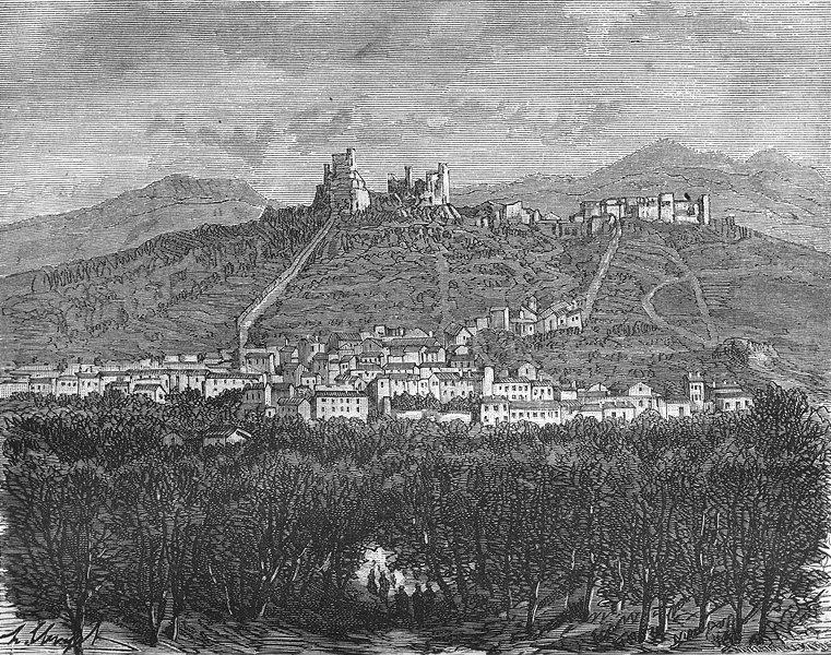 Associate Product ARDECHE. Ruines du Chateau de Rochemaure 1881 old antique print picture