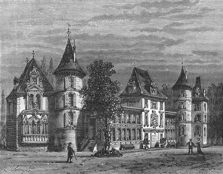 Associate Product BELLEVUE. Ardennes. Chateau, pres Sedan 1881 old antique vintage print picture