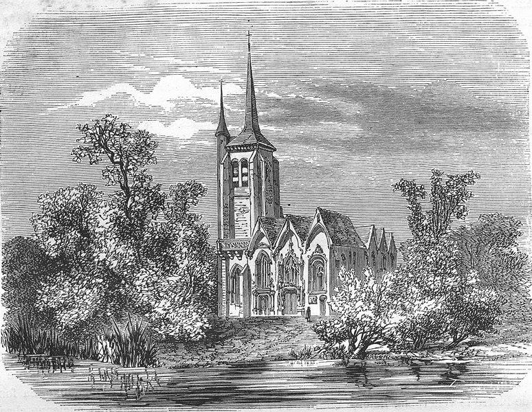 Associate Product AUBE. Eglise de Pont-Hubert 1881 old antique vintage print picture