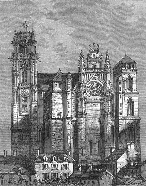Associate Product AVEYRON. Cathedrale de Rodez 1881 old antique vintage print picture