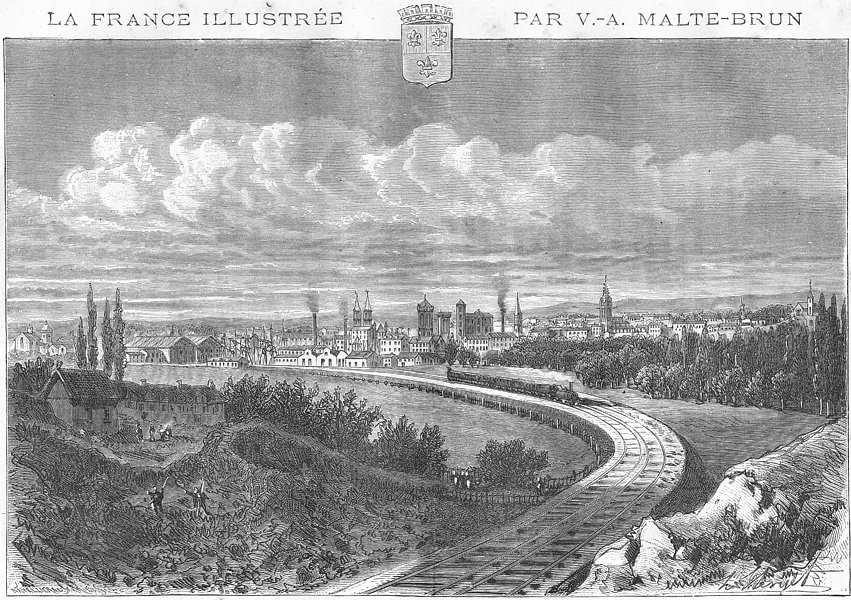 Associate Product CALVADOS. Caen 1881 old antique vintage print picture