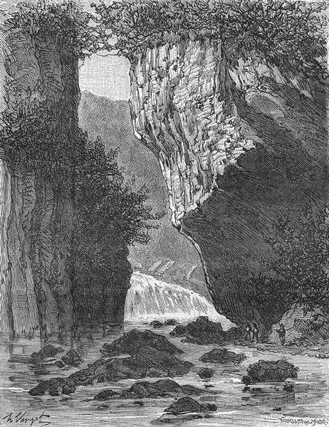 Associate Product LANDES. Cantal. Cascade du Pas de Cere 1881 old antique vintage print picture