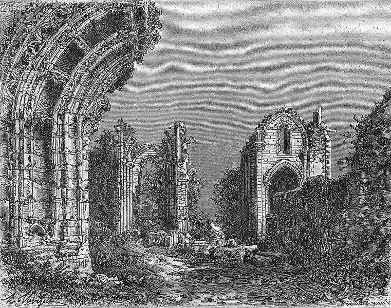 Associate Product CHARENTE. Abbaye de Couronne 1881 old antique vintage print picture