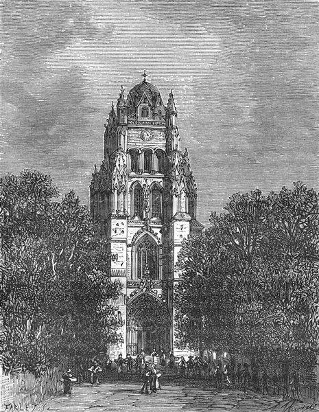 Associate Product SAINTES. Inferieure. Eglise St-Pierre, a 1881 old antique print picture