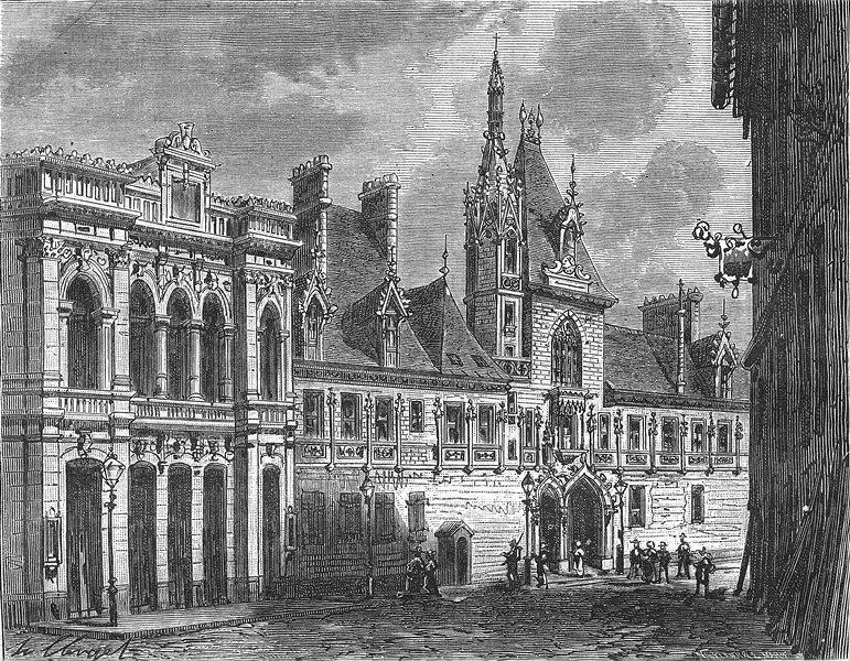 Associate Product CHER. Hotel de ville Bourges 1881 old antique vintage print picture