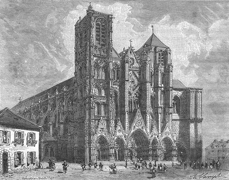Associate Product CHER. Cathedrale de Bourges 1881 old antique vintage print picture