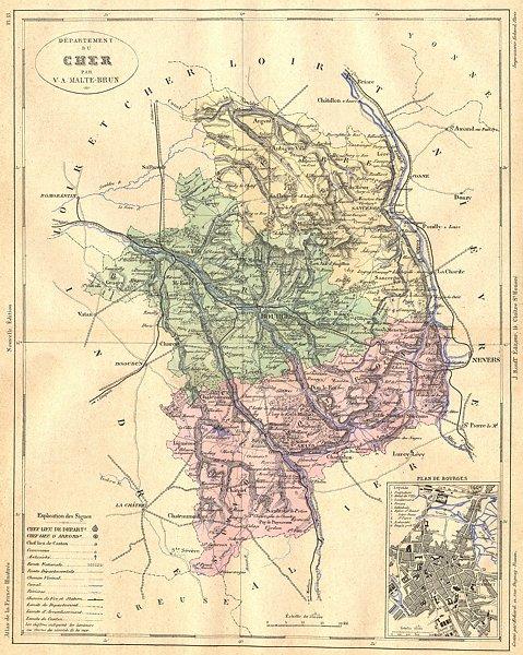 Associate Product FRANCE. Departement du Cher; plan de Bourges 1881 old antique map chart