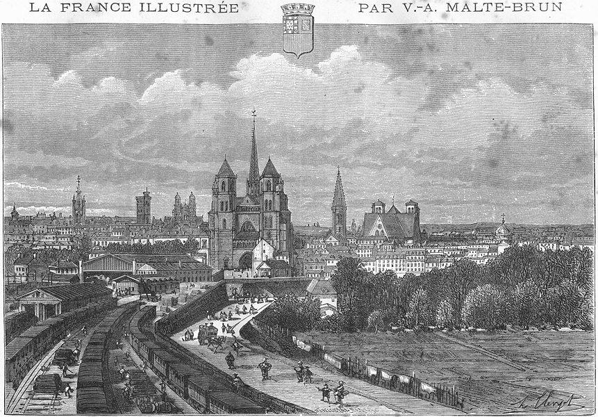 Associate Product CÔTE-D'OR. Dijon 1881 old antique vintage print picture