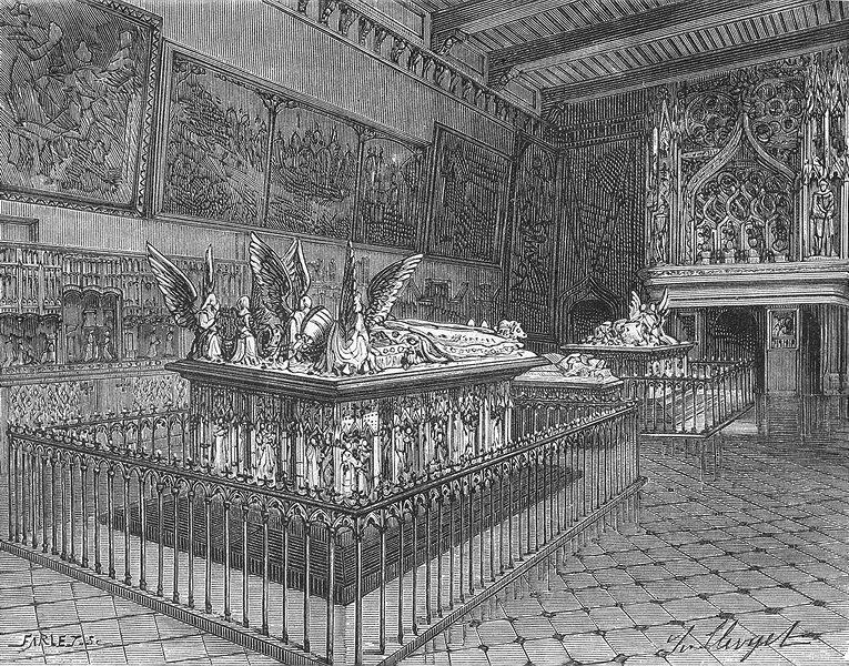 Associate Product DIJON. Cote. Tombeaux ducs de Bourgogne a 1881 old antique print picture