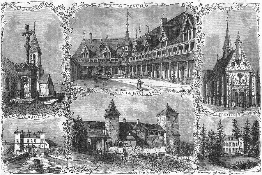 Associate Product CÔTE-D'OR. Edifices Remarquables Cote  1881 old antique vintage print picture