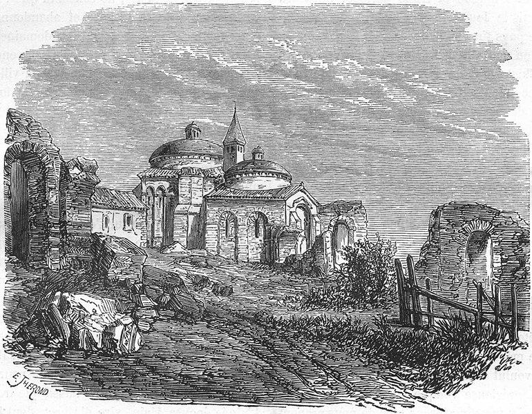 Associate Product DORDOGNE. Ancien temple romain a Périgueux 1881 old antique print picture