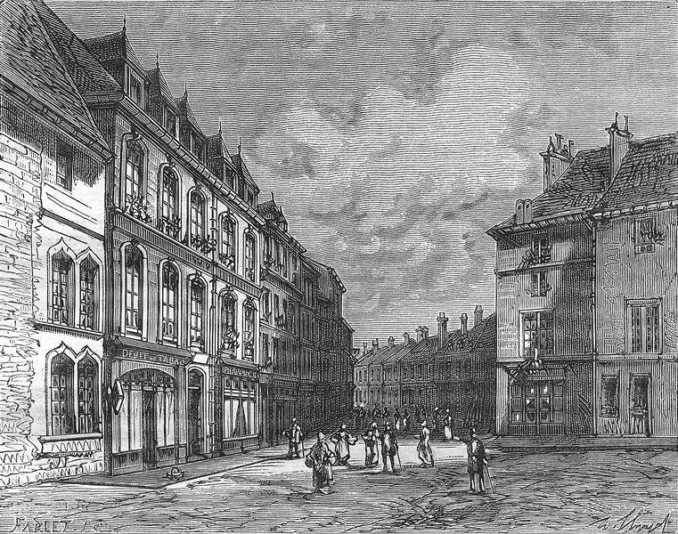 Associate Product DOUBS. Maison est ne Victor Hugo, a Besançon 1881 old antique print picture