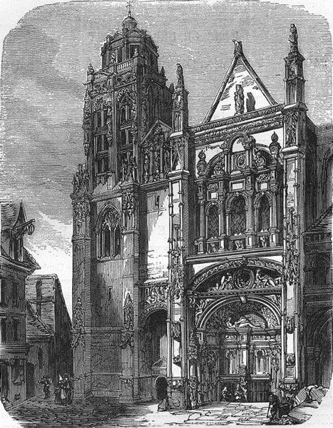 Associate Product EURE. Eglise St-Gervais--Protais, a Gisors 1881 old antique print picture