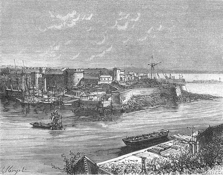 Associate Product FINISTÈRE. Finistere. Port militaire de Brest 1881 old antique print picture