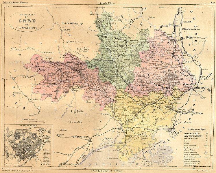 Associate Product GARD. Departement du; plan de Nimes 1881 old antique vintage map chart