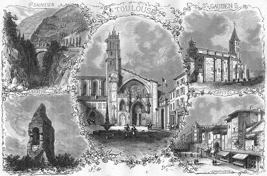 Associate Product Hte GARONNE. St Sauveur; Labarthe; Toulouse; Gaudens 1881 old antique print