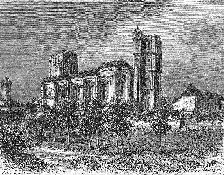 Associate Product GERS. Eglise de Romieu 1881 old antique vintage print picture
