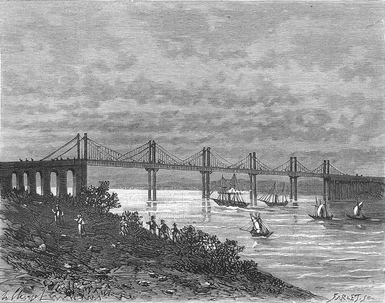 Associate Product GIRONDE. Pont de St-Andre-Cubzac 1881 old antique vintage print picture