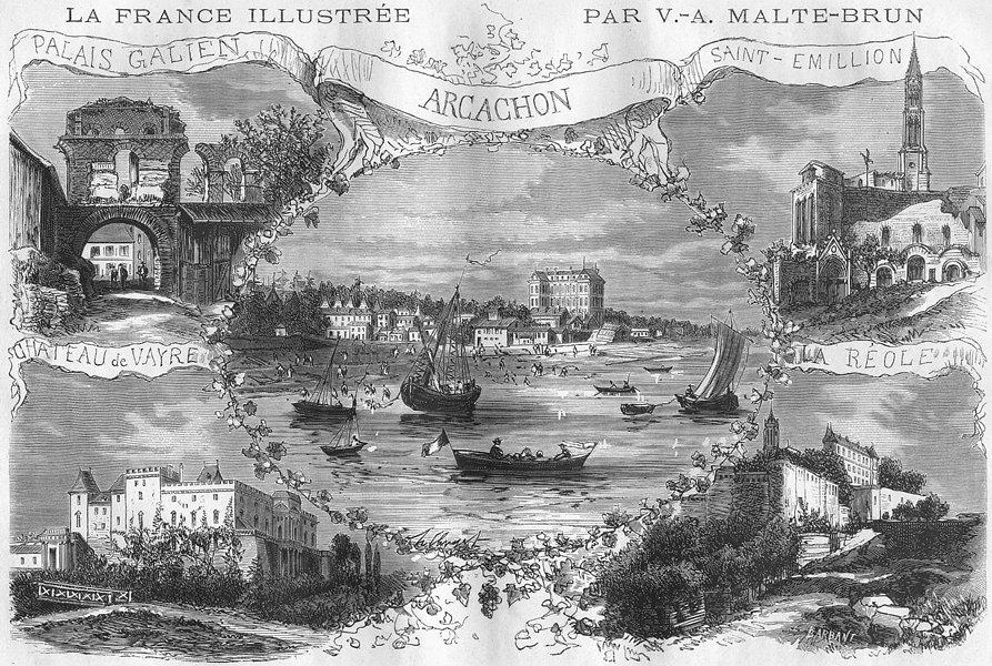 Associate Product GIRONDE. Vues Remarquables Du Departement de 1881 old antique print picture