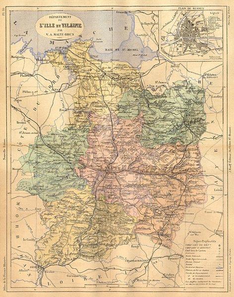 Associate Product LILLE ET VILAINE. L'Ille; Rennes 1881 old antique vintage map plan chart