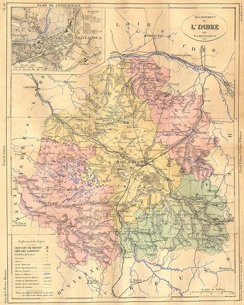 Associate Product INDRE. Departement de L'Indre; plan Chateauroux 1881 old antique map chart