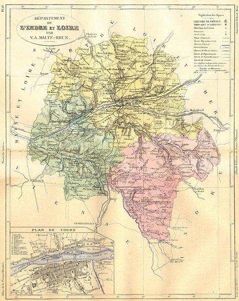 Associate Product LOIRE. Departement de L'Indre; plan Tours 1881 old antique map chart