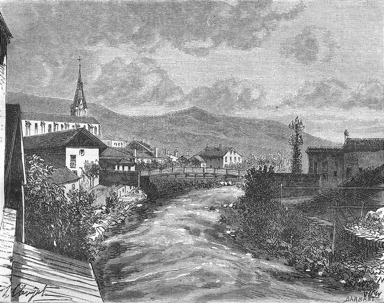 Associate Product ISÈRE. Isere. Allevard 1881 old antique vintage print picture