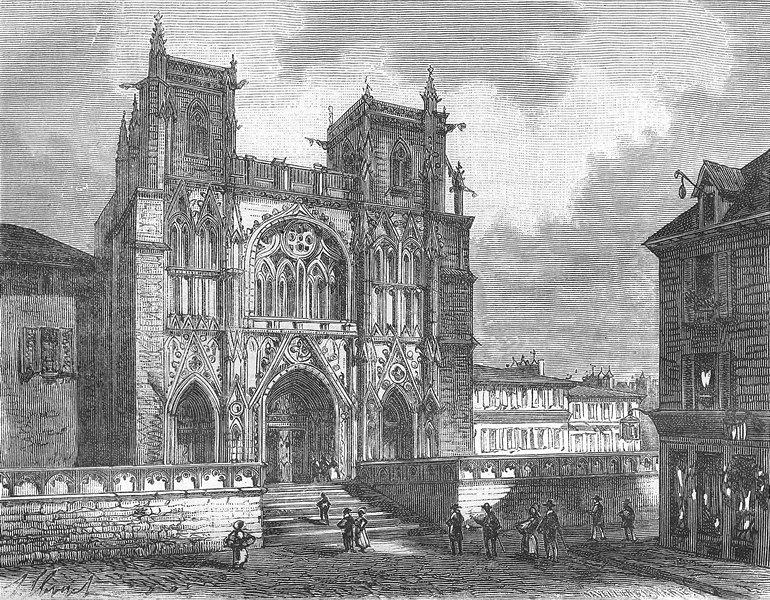 Associate Product VIENNE. Isere. Cathedrale de 1881 old antique vintage print picture
