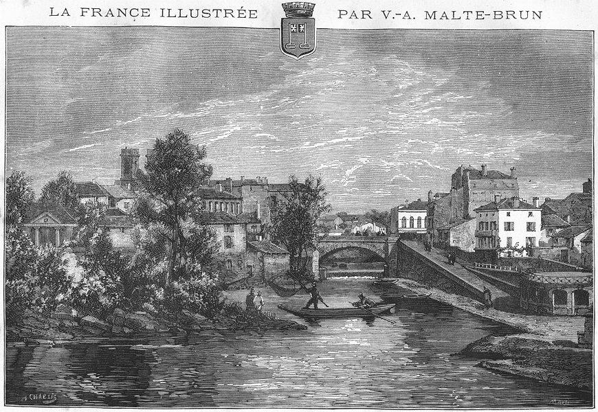 Associate Product LANDES. Mont-de-Marsan 1881 old antique vintage print picture