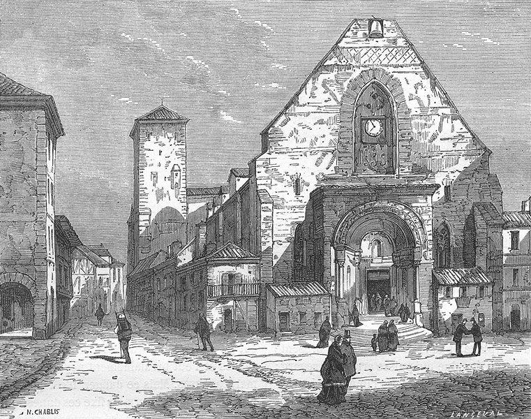 Associate Product LANDES. Eglise de St-Sever 1881 old antique vintage print picture