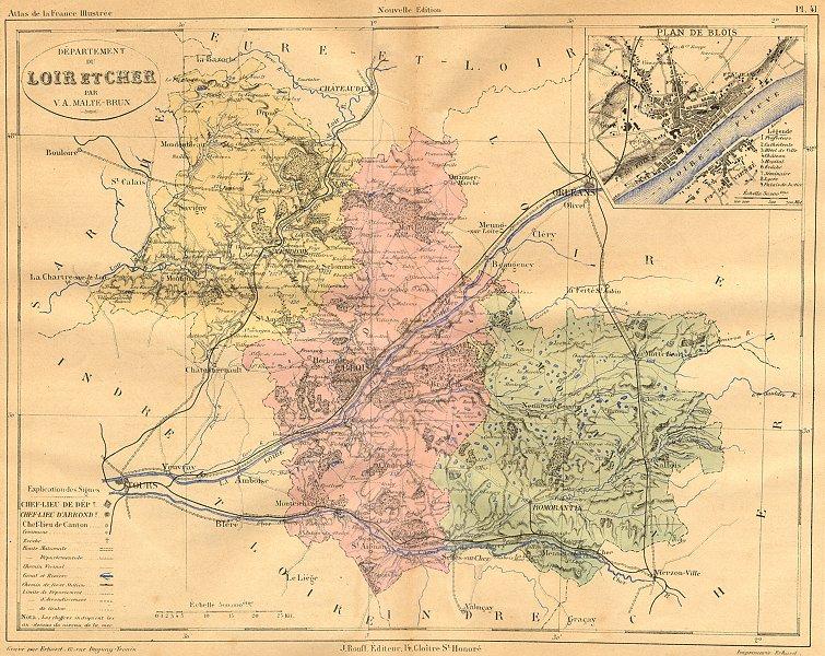 Associate Product LOIR-CHER. Departement du; plan de Blois 1881 old antique map chart