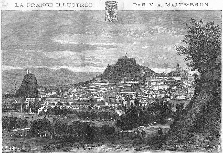 Associate Product HAUTE-LOIRE. Le Puy 1882 old antique vintage print picture
