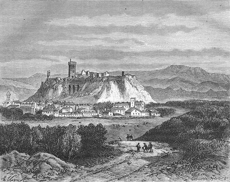 Associate Product HAUTE-LOIRE. Chateau de Polignac 1882 old antique vintage print picture