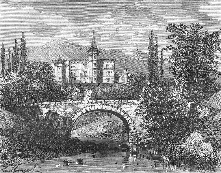 Associate Product ROCHE LAMBERT. Chateau Roche-Lambert(Borne) 1882 old antique print picture