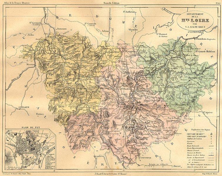 Associate Product HAUTE-LOIRE. Departement de Hte; plan du Puy 1882 old antique map chart