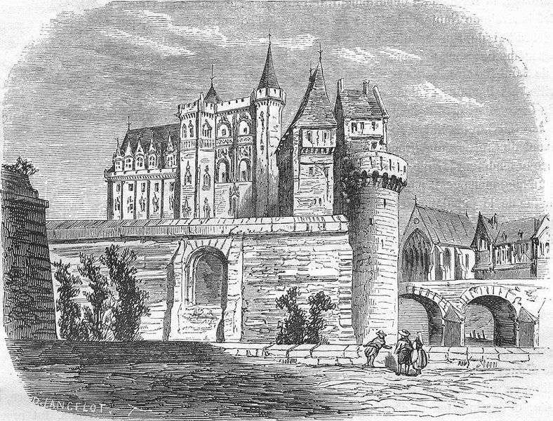 LOIRE-ATLANTIQUE. Inferieure. Chateau de Nantes 1882 old print picture