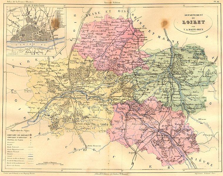 Associate Product LOIRET. Departement du; plan D'Orleans 1882 old antique vintage map chart