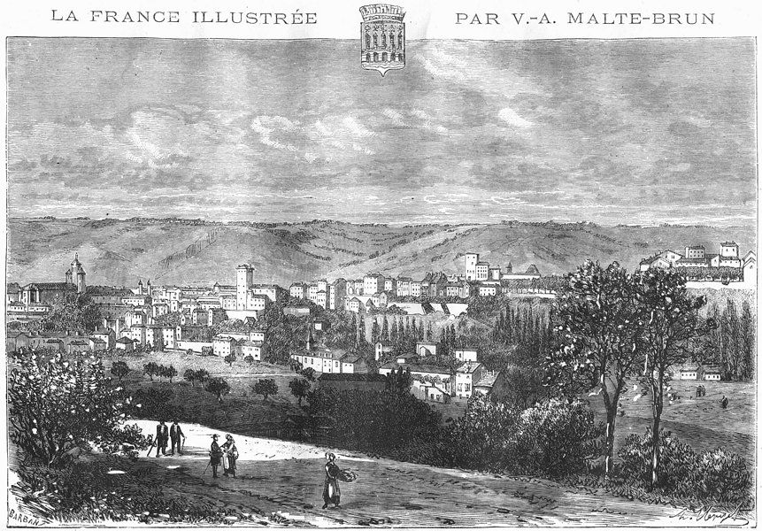 Associate Product LOT. Cahors 1882 old antique vintage print picture