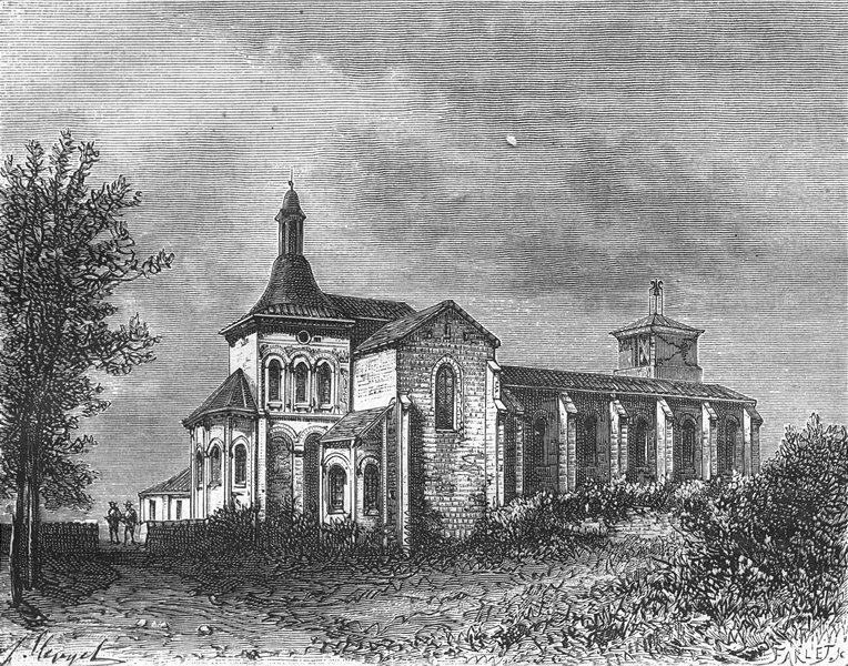 Associate Product LOT-ET-GARONNE. Eglise de Moirax 1882 old antique vintage print picture
