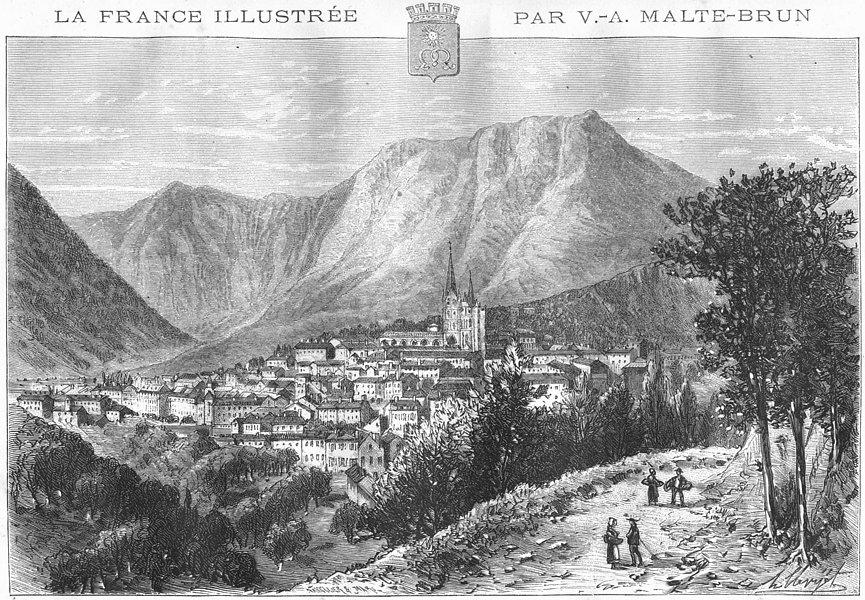 Associate Product LOZÈRE. Mende 1882 old antique vintage print picture