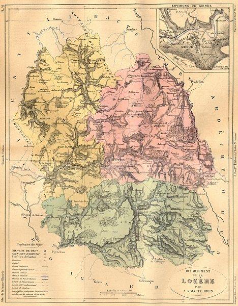 Associate Product LOZÈRE. Departement de Lozere; area Mende 1882 old antique map plan chart