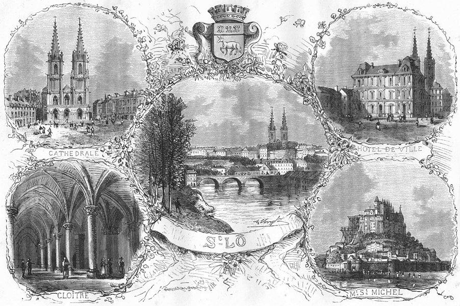 Associate Product SAINT-LÔ. Cathedrale; Hotel Ville; Mt St Michel 1882 old antique print picture