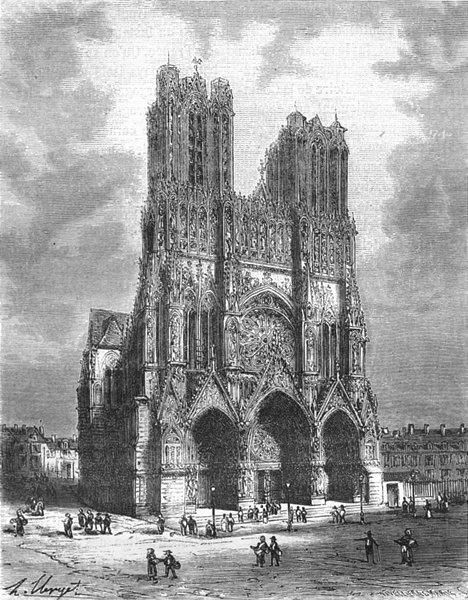 Associate Product MARNE. Cathedrale de Reims 1882 old antique vintage print picture