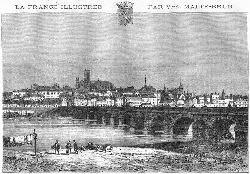 Associate Product NIÈVRE. Nevers 1882 old antique vintage print picture