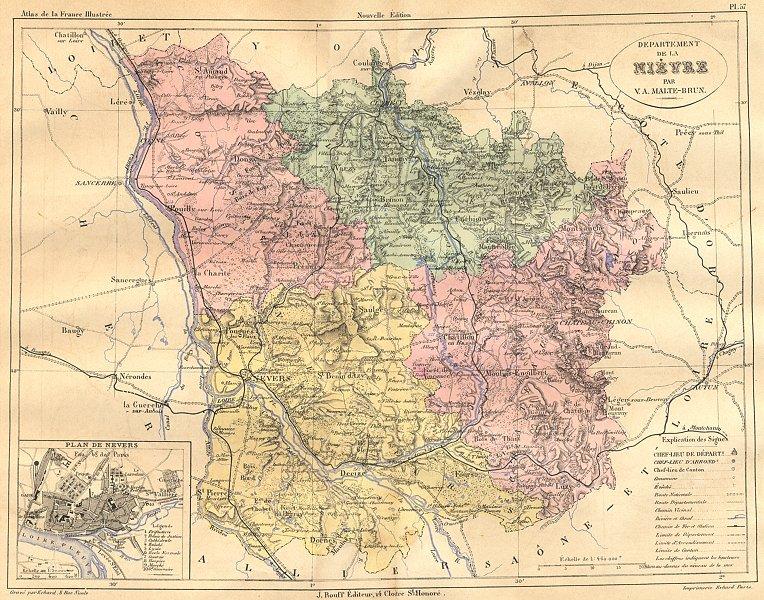 Associate Product NIÈVRE. Departement de Nieyre; plan Nevers 1882 old antique map chart
