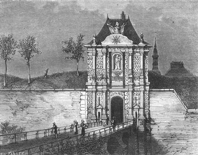 Associate Product NORD. Porte Notre-Dame, a Cambrai 1882 old antique vintage print picture