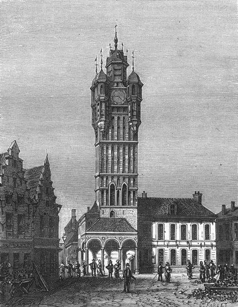Associate Product NORD. Beffroi de Bergues 1882 old antique vintage print picture