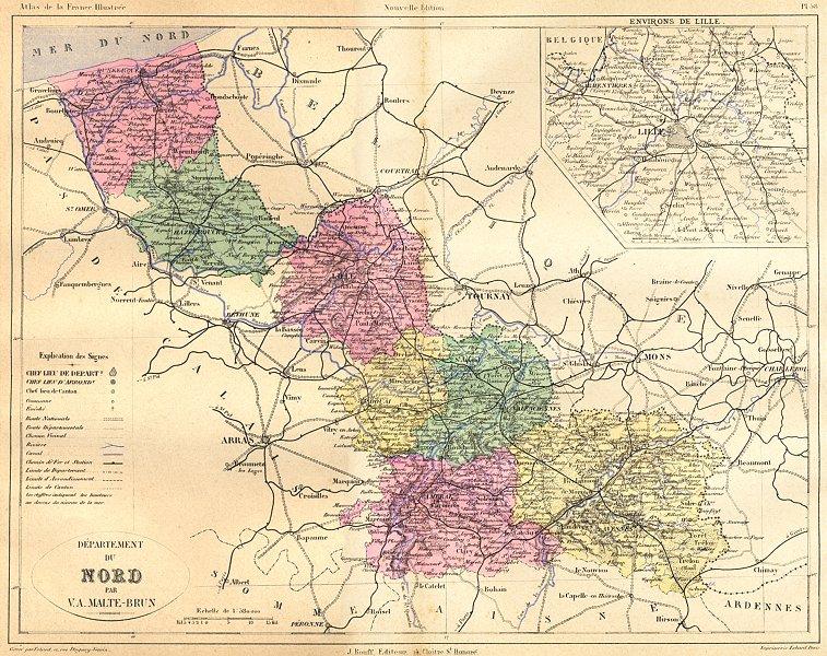 NORD. Departement du; area de Lille 1882 old antique vintage map plan chart