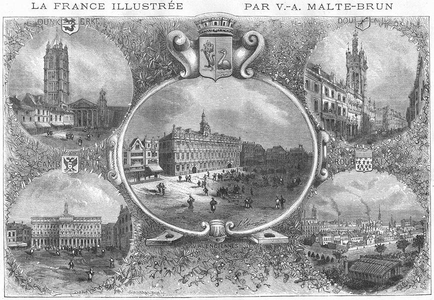 Associate Product NORD. Vues Principales Villes Du Departement 1882 old antique print picture