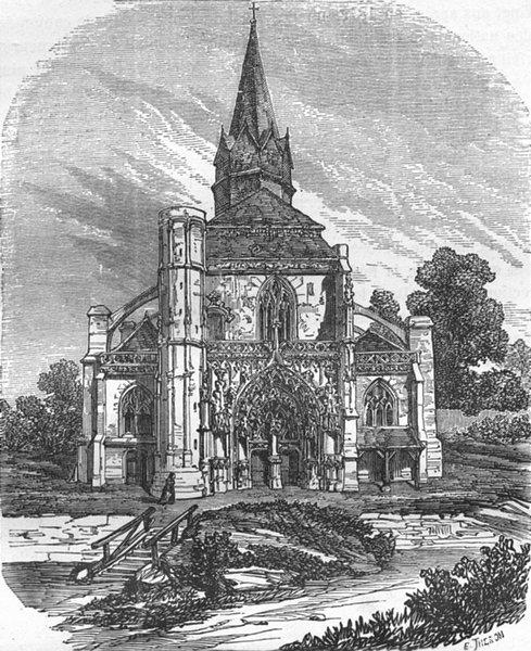 Associate Product OISE. Eglise de Marissel 1882 old antique vintage print picture
